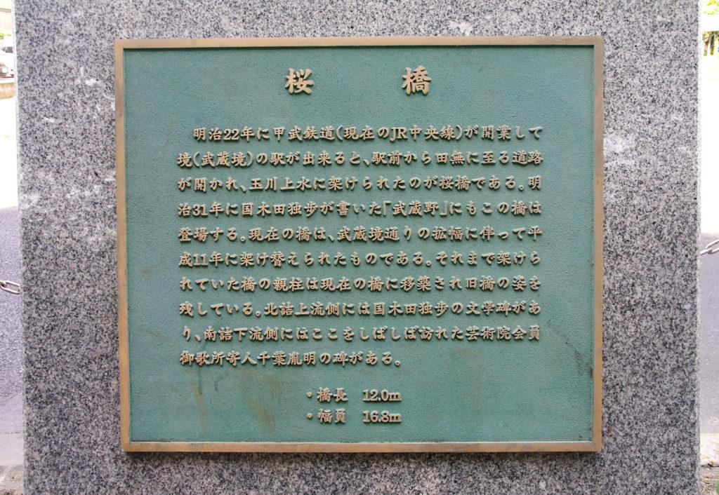 武蔵野市 国木田独歩の碑 桜橋