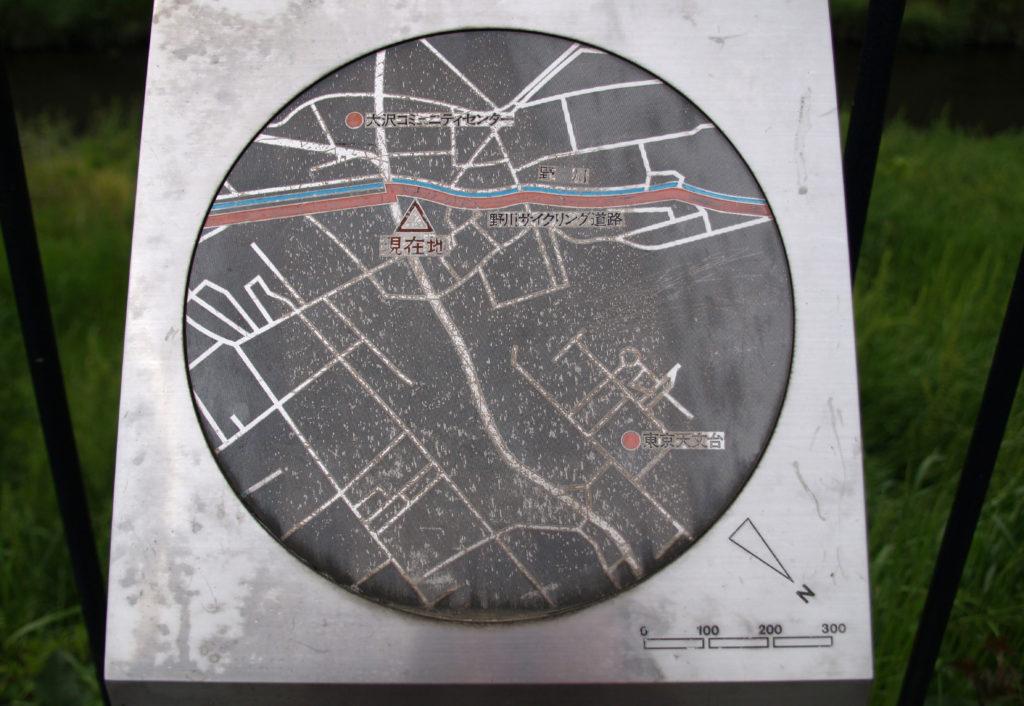 武蔵野の森 野川コースが表示された案内図