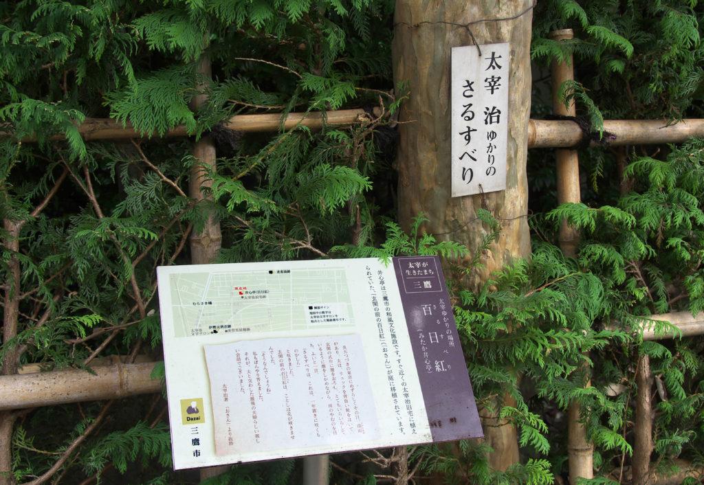 三鷹 みたか井心亭 太宰治と百日紅の関係が説明されています
