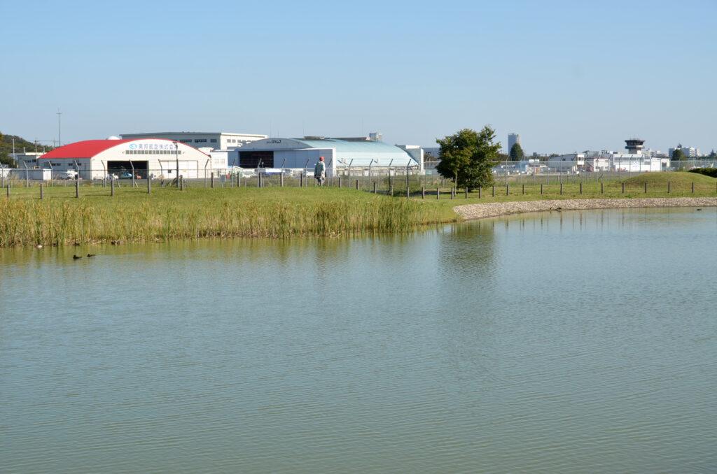 三鷹 武蔵野の森公園 修景池越しに調布飛行場の格納庫が見える